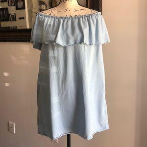 Zara Dresses - ZARA Denim Off Shoulder Dress
